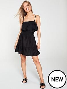 816253d0309c River Island River Island Shirred Frill Beach Dress - Black