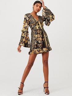 u-collection-forever-unique-bell-sleeve-tie-front-playsuit-black-gold
