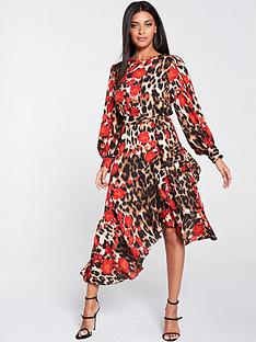 u-collection-forever-unique-u-collection-frill-hem-long-sleeve-midi-dress-leopard