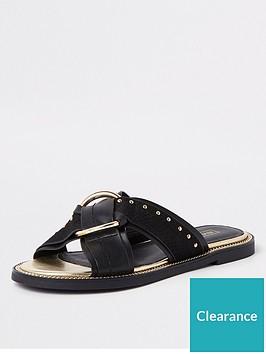 river-island-river-island-wide-fit-cross-stud-mule-sandal-black