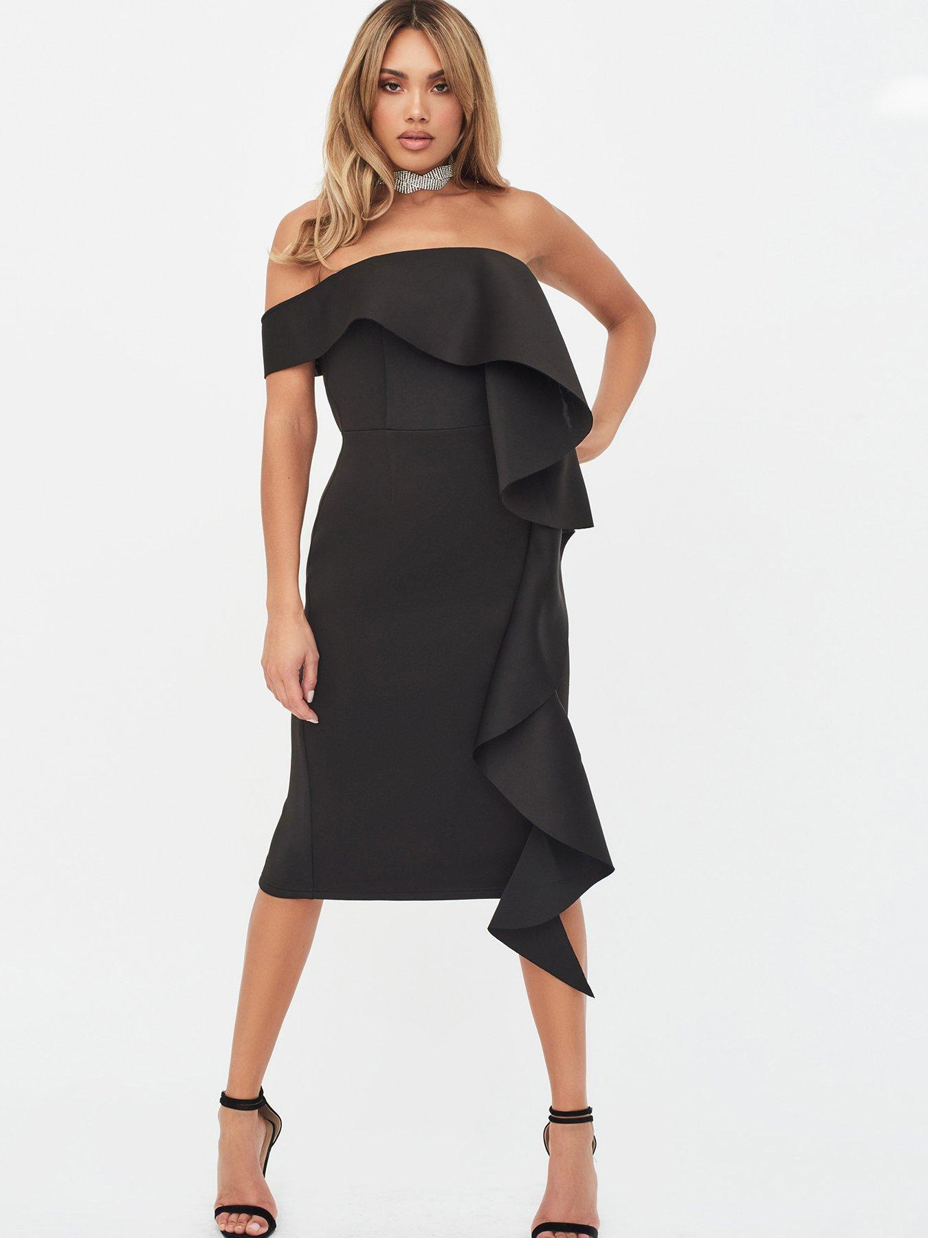 Billies Dress Boutique Black Strap Dress with Embossed Print