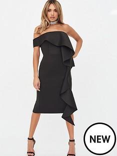 lavish-alice-bardot-exaggerated-frill-scuba-midi-dress-black