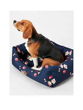 joules-joules-floral-collection-square-dog-bed-navy