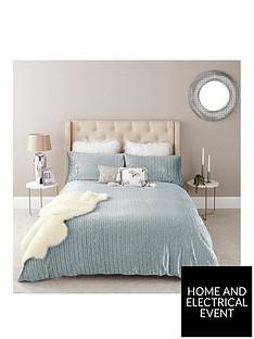 river-island-blue-pleated-velvet-duvet-cover-set