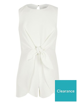 river-island-girls-knot-front-playsuit-white