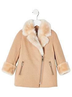 river-island-mini-mini-girls-faux-fur-trim-swing-coat-brown