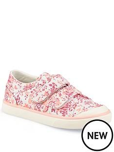 start-rite-girls-bounce-canvas-strap-plimsolls-pink-floral