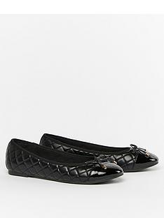 evans-extra-wide-fit-quilted-ballerina-flats-black