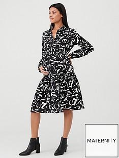 mama-licious-serena-long-sleeve-printed-maternity-dress-black-white