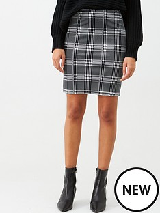 v-by-very-check-mini-skirt-black-white
