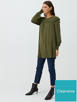 v-by-very-frill-sleeve-tunic-olive