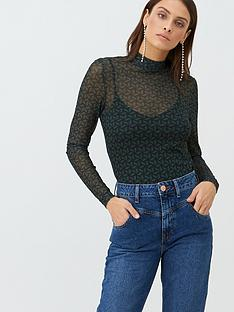v-by-very-geo-high-neck-mesh-top-green