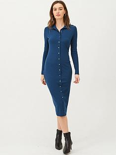 v-by-very-button-through-collar-jersey-midi-dress-navy