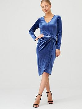 v-by-very-twisted-velvet-dress-blue