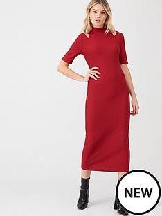 v-by-very-ribbed-cut-out-midaxi-dress-red