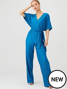 v-by-very-kimono-sleeve-plisse-jumpsuit-blue