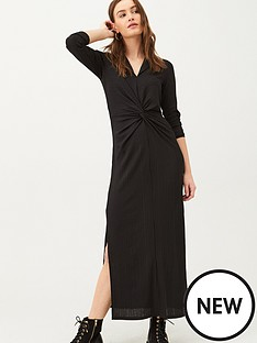 v-by-very-front-knotted-collar-jersey-dress-black