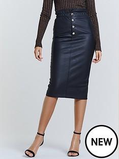michelle-keegan-elasticated-waist-pu-midi-skirt-black