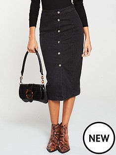 v-by-very-button-front-denim-midi-skirt-washed-black