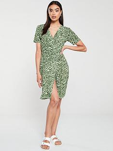 v-by-very-animal-printed-wrap-dress-khaki