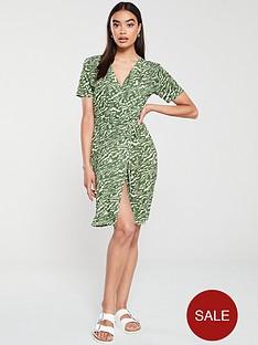 v-by-very-animal-printed-wrap-dress-khaki