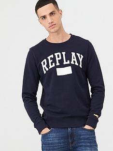 replay-archive-sport-logo-crew-sweatshirt-navy