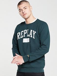 replay-archive-sport-logo-crew-sweatshirt-dark-green