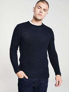 replay-waffle-knitted-jumper-navy