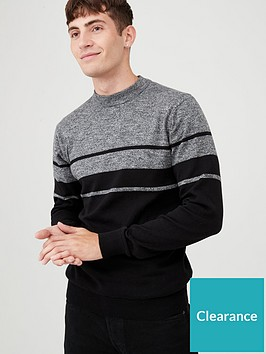 very-man-block-stripe-crew-neck-jumper-greyblack