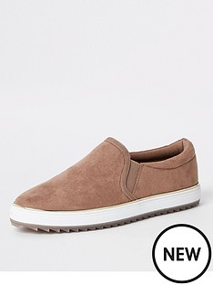river-island-river-island-faux-suede-slip-on-plimsole-dusky-pink