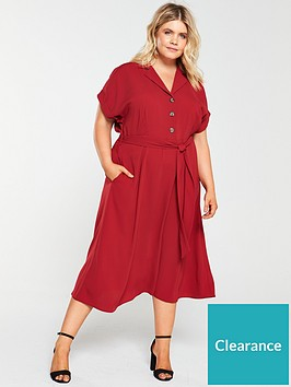 v-by-very-curve-button-through-midi-dress-rust