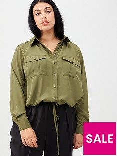 v-by-very-curve-tie-front-bubble-hem-blouse-khaki
