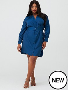 v-by-very-curve-belted-shirt-dress-navy