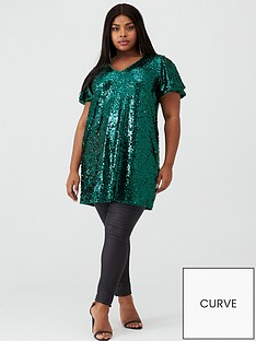 v-by-very-curve-short-sleeve-sequin-tunic-green