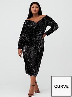 v-by-very-curve-bardot-sequin-midi-dress-black