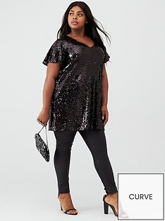 v-by-very-curve-short-sleeve-sequin-tunic-black
