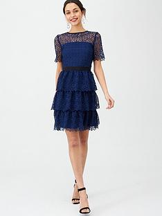 v-by-very-layered-short-sleeve-skater-dress-blue