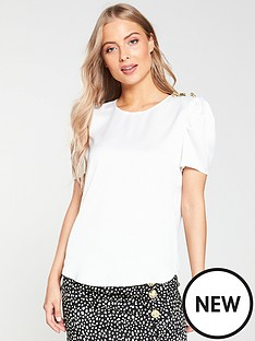 30985deb9341e7 River Island River Island Shoulder Detail Woven Top - White