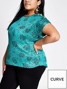 river-island-ri-plus-printed-shoulder-detail-woven-top-green