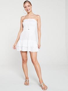 river-island-river-island-shirred-mini-beach-dress-white