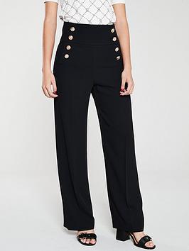river-island-river-island-button-detail-wide-leg-trouser-black