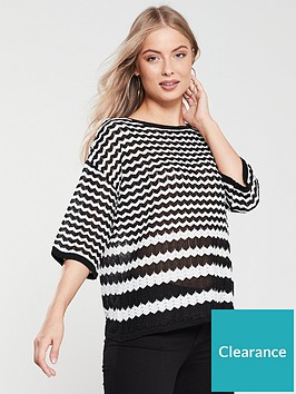 river-island-river-island-chevron-print-oversize-knit-black