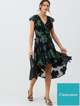 v-by-very-foil-print-midi-wrap-dress-black