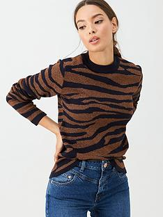 v-by-very-lurex-zebra-jumper-navy-bronze