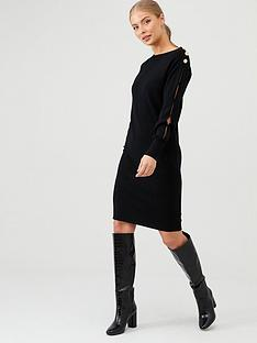 v-by-very-button-detail-long-sleeve-dress-black