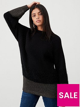 v-by-very-textured-block-hem-longline-jumper-black