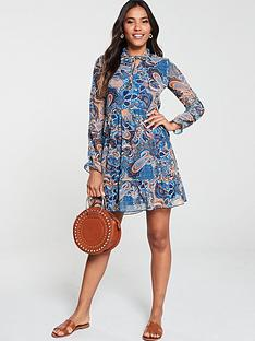 v-by-very-paisley-mesh-mini-dress-multi