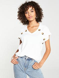 v-by-very-v-neck-mock-horn-top-white