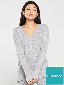 v-by-very-v-neck-snit-co-ord-top-grey