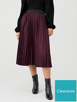 oasis-faux-suede-pleated-midi-skirt-berry
